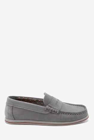 Grey Nubuck Penny Loafers (Older)
