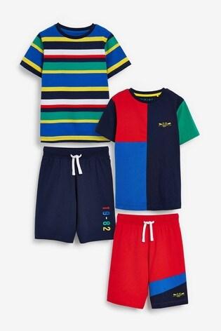 Multi 2 Pack Stripe Short Pyjamas (3-16yrs)