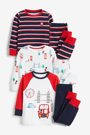 White/Blue/Red 3 Pack London Bus Snuggle Pyjamas (9mths-8yrs)