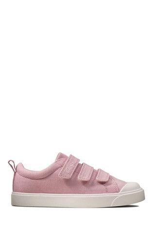 Clarks Pink Canvas City Vibe K Canvas Velcro Shoes