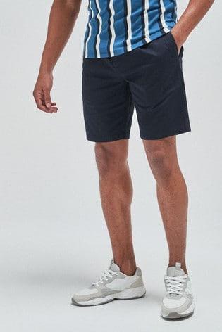 Navy Slim Pleat Stretch Chino Shorts