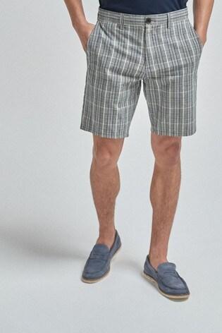 Grey Check Straight Fit Chino Shorts