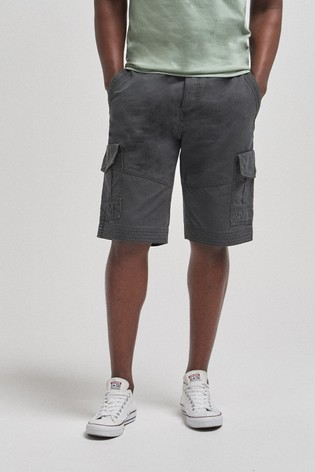 Charcoal Premium Laundered Cargo Shorts