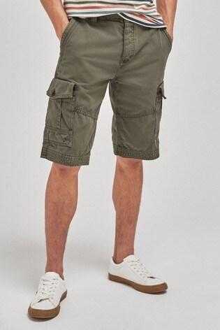 Khaki Premium Laundered Cargo Shorts