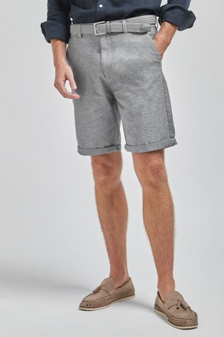 Grey Straight Fit Belted Oxford Chino Shorts