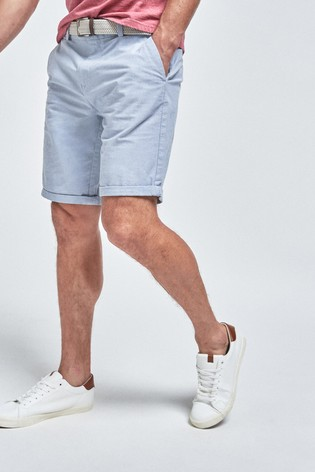 Light Blue Straight Fit Belted Oxford Chino Shorts