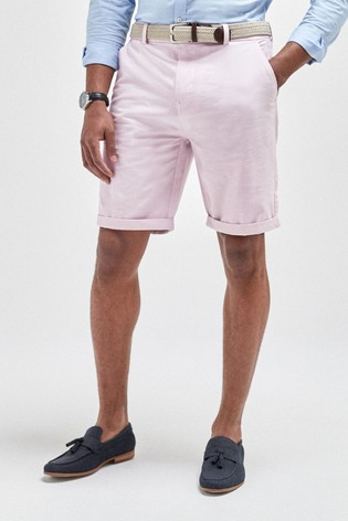 Pink Straight Fit Belted Oxford Chino Shorts