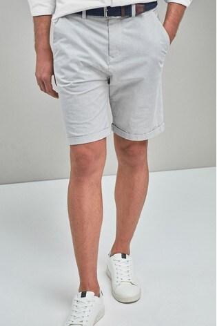 Grey Fine Stripe Belted Shorts