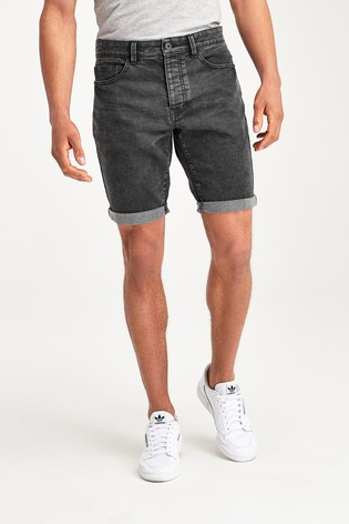 Washed Black Slim Fit Super Stretch Denim Shorts