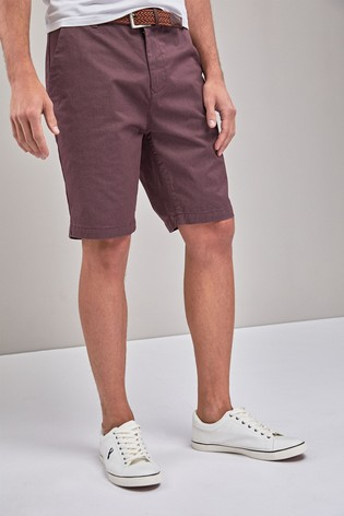 Burgundy Straight Fit Ditsy Print Belted Chino Shorts