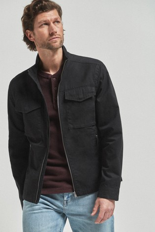 Black Cotton Lightweight Funnel Neck Jacket