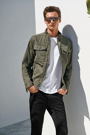 Khaki Cotton Lightweight Funnel Neck Jacket