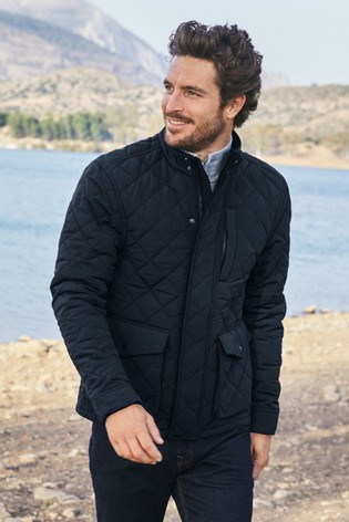 Navy Shower Resistant Diamond Quilt Jacket