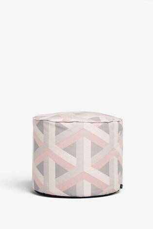 Pink Optical Geo Fabric Pouffe