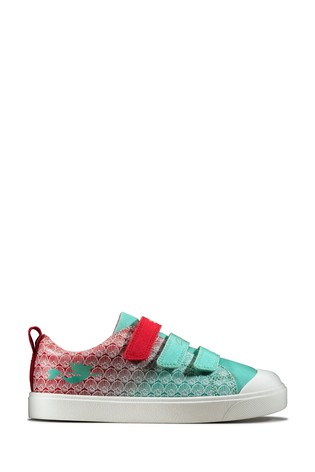 Clarks Red Kids Little Mermaid Canvas Trainers