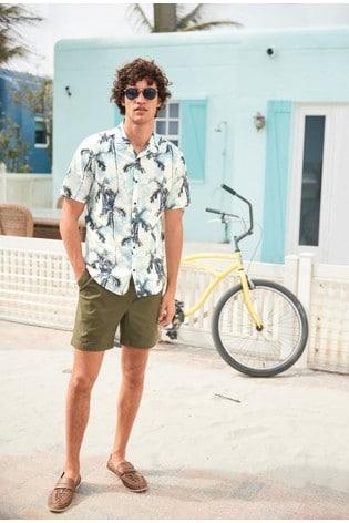 White Slim Fit Tie Dye Palm Print Short Sleeve Shirt