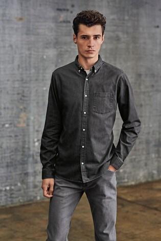 Black Slim Fit Denim Shirt