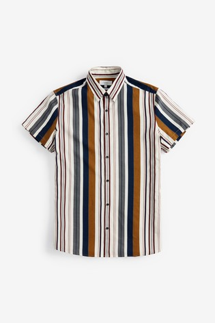 Navy/Brown Variated Stripe Short Sleeve Shirt