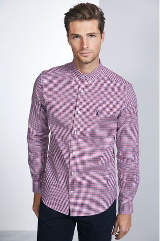 White Slim Fit Gingham Long Sleeve Stretch Oxford Shirt