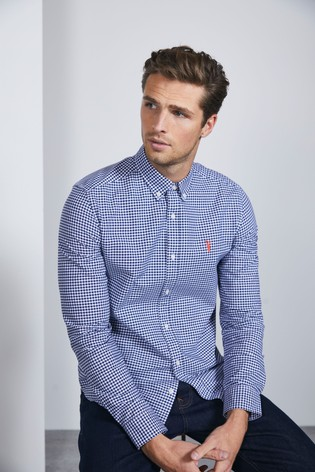 White/Navy Regular Fit Gingham Long Sleeve Stretch Oxford Shirt