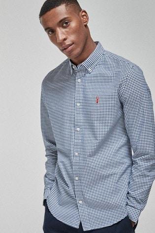 White/Navy Regular Fit Gingham Long Sleeve Stretch Oxford Shirt