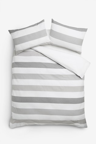 Textured Waffle Stripe 100% Cotton Duvet Cover And Pillowcase Set