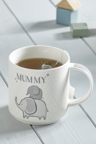 Set of 2 Mummy And Daddy Elephant Stacking Mugs