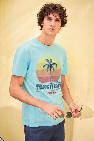 Light Blue Graphic T-Shirt