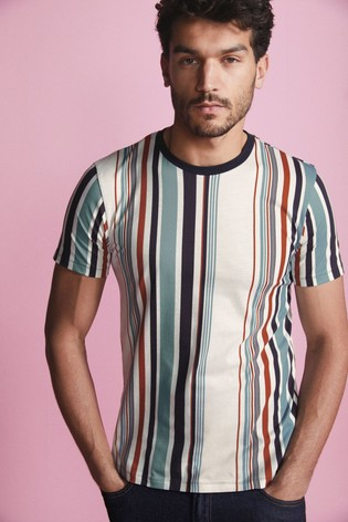 White Vertical Stripe Regular Fit T-Shirt