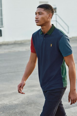 Navy Contrast Sleeve Blocked Polo