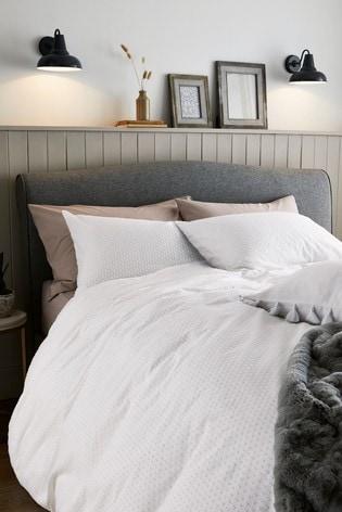 Textured Spot Dobby 100% Cotton Duvet Cover And Pillowcase Set