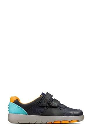 Clarks Navy Combi Rex Quest K Velcro Shoes