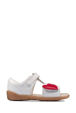 Clarks White Leather Zora Rain T Sandals