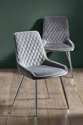 Set of 2 Hamilton Dining Chairs With Chrome Legs