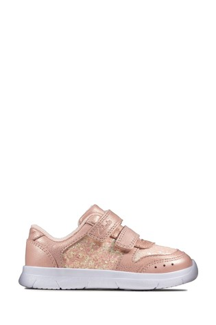 Clarks Pink Ath Sonar T Velcro Trainers