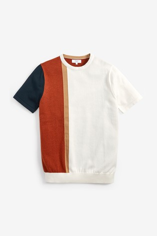Ecru Vertical Stripe Knitted T-Shirt
