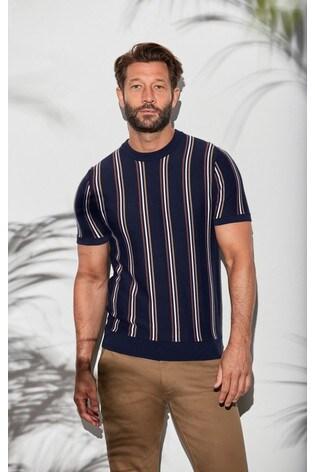 Navy/Tan Vertical Stripe Knitted T-Shirt