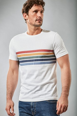 White Chest Stripe Slim Fit T-Shirt