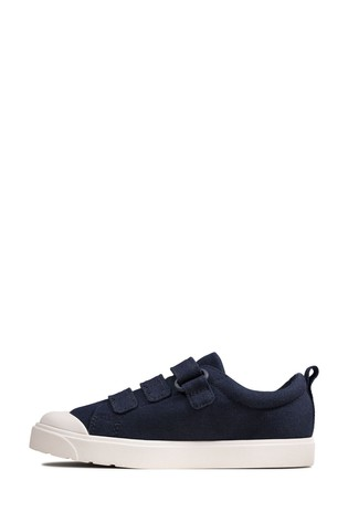 Clarks Navy Canvas City Vibe K Canvas Shoes