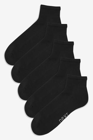 Black 5 Pack Mid Cut Sports Socks