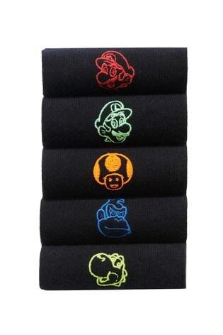 Black Mario Socks Five Pack