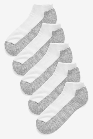White/Grey Cushioned Trainer Socks Five Pack