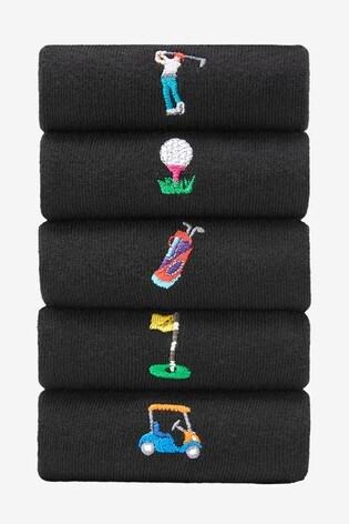 Black Golf Embroidered Socks Five Pack