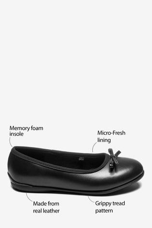 Black Wide Fit Leather Ballet Shoes (Older)