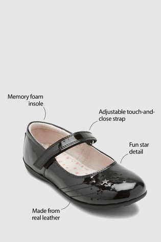 Black Patent Wide Fit Leather Star Mary Jane Shoes (Older)