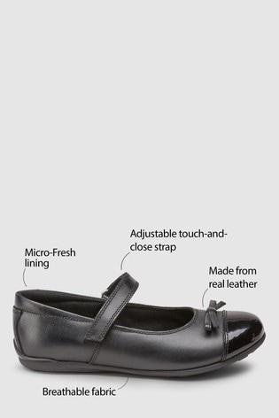 Black Narrow Fit (E) Leather Patent Toe Cap Mary Jane Shoes