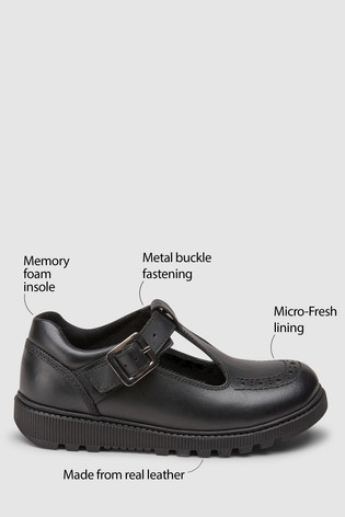 Black Leather Chunky T-Bar Shoes (Older)