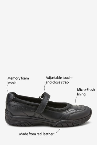 Black Leather Casual Mary Jane Shoes (Older)