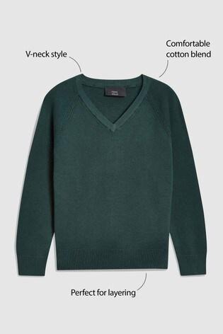 Green Knitted V-Neck Jumper (3-18yrs)