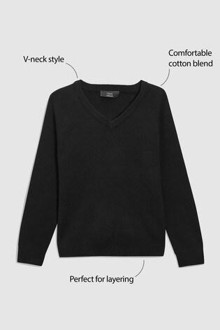 Black Knitted V-Neck Jumper (3-18yrs)